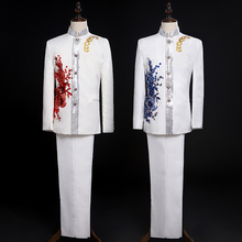 New Design Fahsion Mens Business Suit Groom Chorus Performance Stage Dress Suits Male Embroidery Two Piece Set