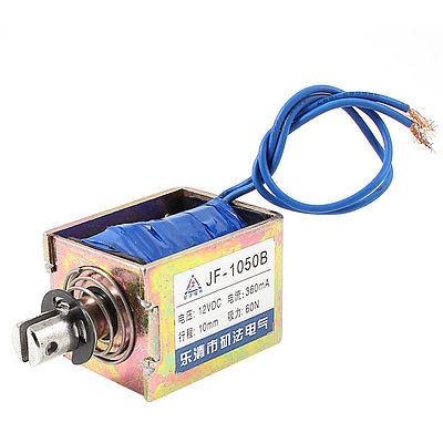 10mm Stroke 6Kg Force Push Pull Open Frame Solenoid Electromagnet DC 12V/DC24V 0.36A JF-1050B mq8 z45 dc 12v dc24v 10mm 4 8kg motion cirect current solenoid electromagnet