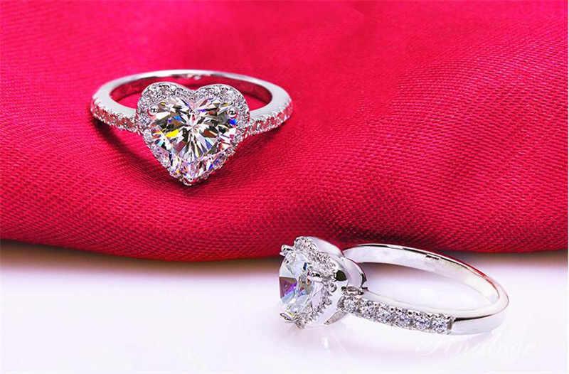 ยี่ห้อ: 925 แหวนเงินผู้หญิงหรูหราโรแมนติกหัวใจ 2 กะรัต SONA เพชร CZ งานแต่งงานแหวนเครื่องประดับขนาด 5-10