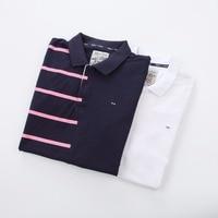 Cotton New 2019 High quality crocodil logo Polo brand Men Polo Shirt Men Business Casual pink Stripe Short Sleeve polos M 3XL