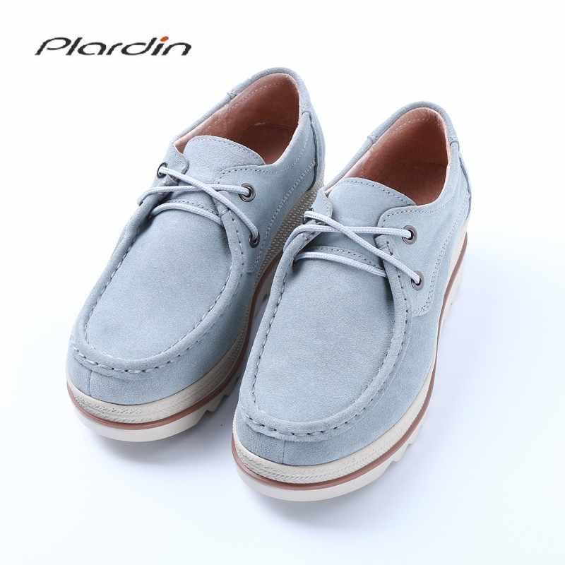ce2a483f2 Plardin/Новая женская обувь на плоской подошве лоферы на платформе женские  замшевые кожаные мокасины бахрома
