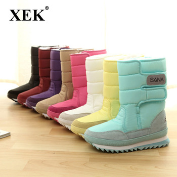 XEK 2018 NEW Warm Solid Anti-Slip Snow Boots Women Waterproof Female Winter Boots Thermal Shoes Botas Mujer Plataforma ZLL18