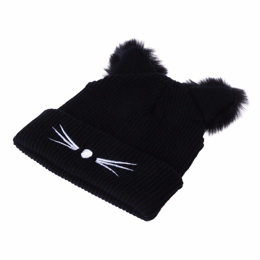 Cat Ears Women Hat Knitted Acrylic Warm Winter Beanie 2