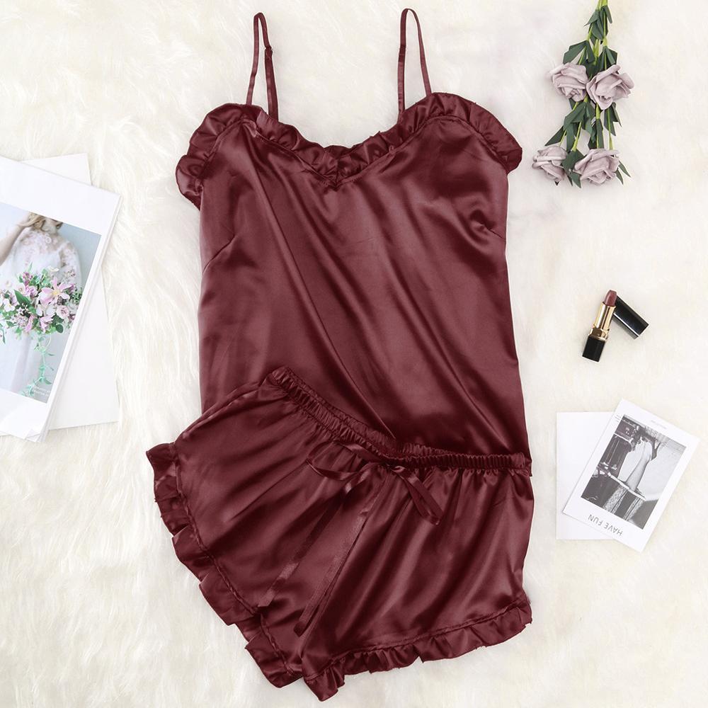 Women's Sleepwear Sexy Satin Set Wine Lace Underwear V-Neck Pyjamas Sleeveless Cute Cami Top Shorts Lingerie Sexy Pajamas 12