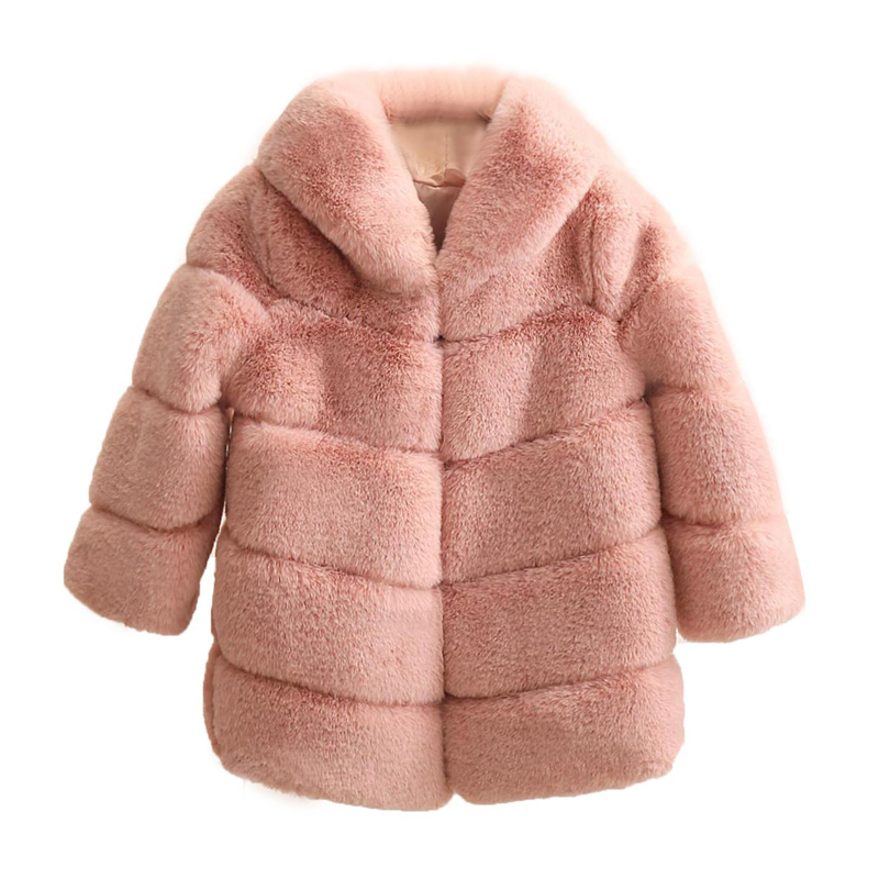 Dollplus New Winter Girls Fur Coat Elegant Thick Warm Baby Girl Faux Fur Jackets Coats Parka Kids Outerwear Clothes Kids Coat-in Jackets & Coats from Mother & Kids