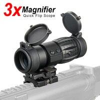 PPT Tactical Red Dot Sight Scope 3x Lente di Ingrandimento Compact Sight con Flip-UP di Montaggio Laterale Picatinny Pistola Montaggio Su Guida di Caccia gs1-0002