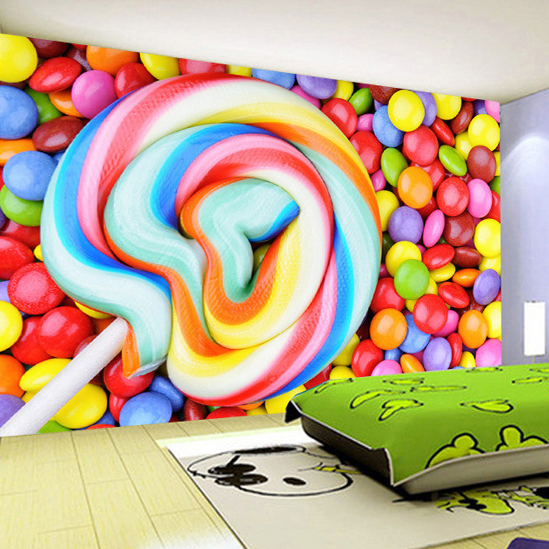 Custom Any Size Color Candy Lollipop Non Woven Wallpaper Childrenu0027s Room  Bedroom Decoration Painting Wall Mural Wallpaper Kids