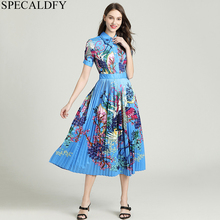 Summer Designer Runway Dresses 2020 Women High Quality Retro Vintage Dress Ladies Elegant Pleated