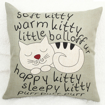 Vintage Decorative Home Cotton Linen Pillow Case Cover Living Room Bed Chair Seat Waist Throw Cushion Lovely Cat Pillowcases
