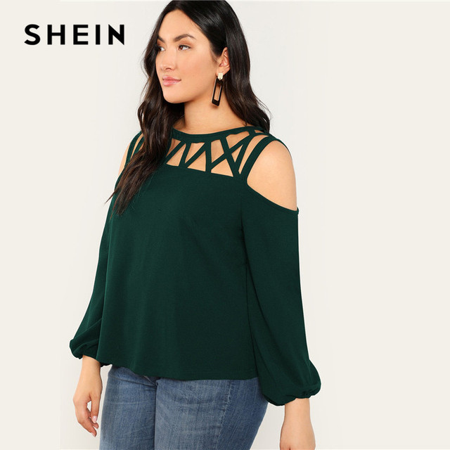 SHEIN Black Sexy Cut Out Cold Shoulder Lantern Sleeve Women Plus Size Blouse 2019 Spring Casual Solid Top Blouses 3 Colors 2