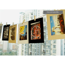 10pcs 6 Picture Vintage Frame Memorial Photo Paper Hanging Album Frame Clips Rope Photo frame wall