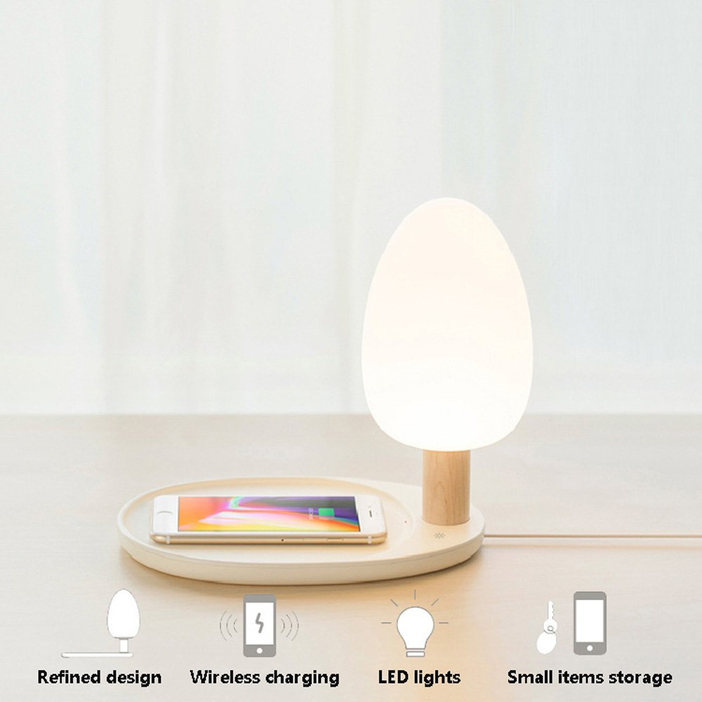 Qi Wireless Charger Desk Lamp Qi Table Lamp Eye Protection Table Night Light Lamp with Three Dimmable Touch Wooden Desk Lamps nillkin mc004 wireless charger phantom table lamp for smartphone