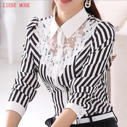 Spring Women Elegant Striped Long Sleeve Lace Shirt Office Skirts Ladies Business Slim Blouse Plus Size 3XL 4XL Work Wear Tops