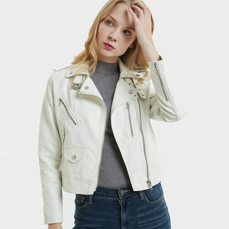 Spring Faux   Leather   Women Lapel PU White Motorcycle Jacket Girls Short Moto Biker Jacket Streetwear Long Sleeve Slim Female Coat