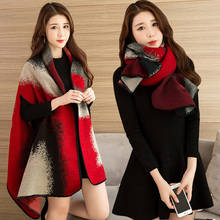 Fashionable Ladies Winter Scarf Blanket Print Women Poncho Warm  Wool Ponchos And Capes Long Thick