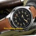 Miyota Parnis 44mm Mostrador Preto dos homens Automáticos do relógio de cristal de Safira automáticas mens watch