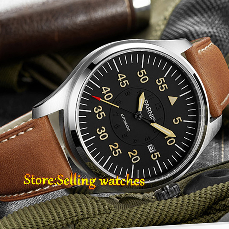 Parnis 44mm Black Dial Miyota Automatic men watch Sapphire crystal automatic mens watch цена и фото