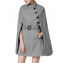 Autumn Winter Wool Cape Coat Women Fashion Woolen Plaid Female Jacket Laipelar New Plus size Houndstooth Long Poncho Coats femme