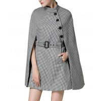 Autumn Winter Wool Cape Coat Women Fashion Woolen Plaid Female Jacket Laipelar New Plus size Houndstooth Long Poncho Coats femme