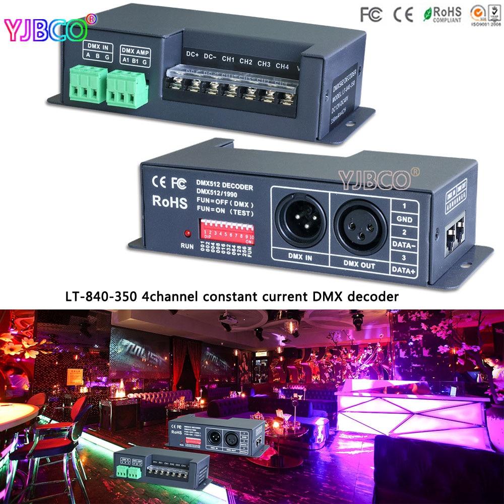 LT-840-350 4CH DMX512 led constant current DMX-PWM Decoder;DC12V-DC48V input;350mA CC*4CH output led controller 4channel 4ch pwm constant current dmx512 rdm led decoder with digital display xlr3 rj45 port dc12v 48v input setting dmx address