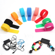 bd109b7605d3 50pcs Nylon Cable Ties Fastener Reusable Magic Sticky Tape Hook Power Wire  Loop Tape Nylon Marker
