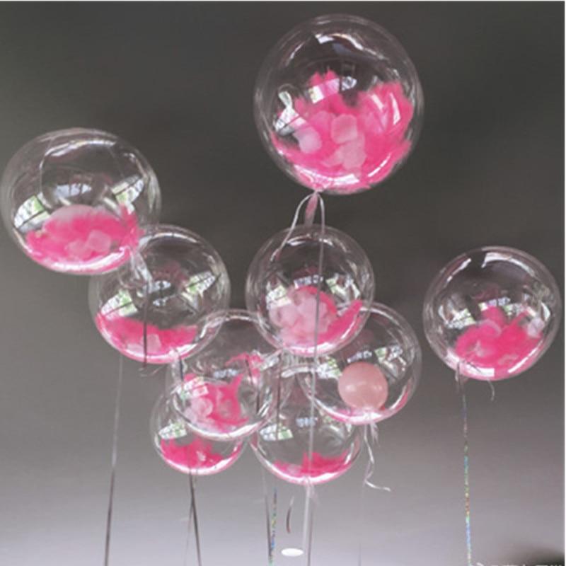 DIY Wedding Birthday Party Decoration Balloons Helium Bobo Balloons Feather Transparent PVC Balloon Party Favors Christmas Decor trophy
