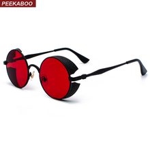 Peekaboo red side shield sunglasses men round vintage retro