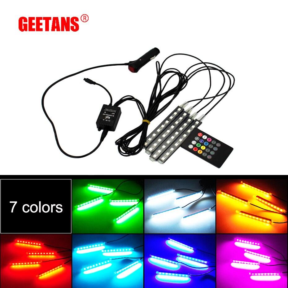 GEETANS Interiör Dekorativ atmosfär Neonlampa LED Trådlös Multifärg RGB Röstsensor Ljudmusikstyrning Bilbelysning H