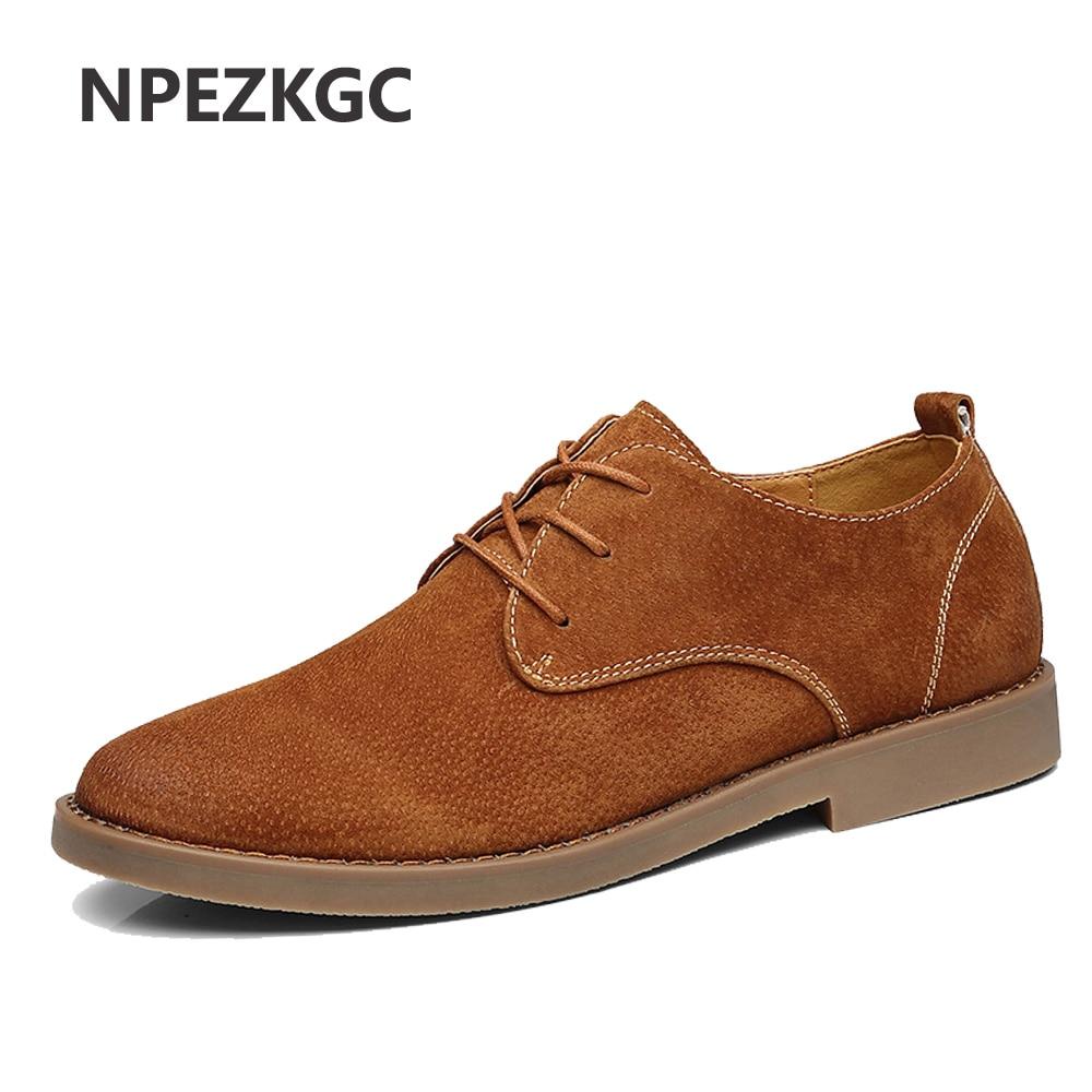 NPEZKGC 2018 fashion men casual shoes new spring men flats lace up male suede oxfords men leather shoes zapatillas hombre