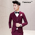 Burgundy Suit Jacket 3 Pieces (Jacket+Vest+Pant) Tuxedo Mens Prom Suits Wedding Suit For Man Latest Coat Pant Designs Mauchley