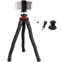 Hot selling portable Mini Octopus Tripod with phone holder adapter mount flexible Tripod For GoPro Camera Phone