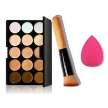 Hot Selling ! Superior  15 Colors Makeup Concealer Contour Palette + Water Sponge Puff + Makeup Brush June 14