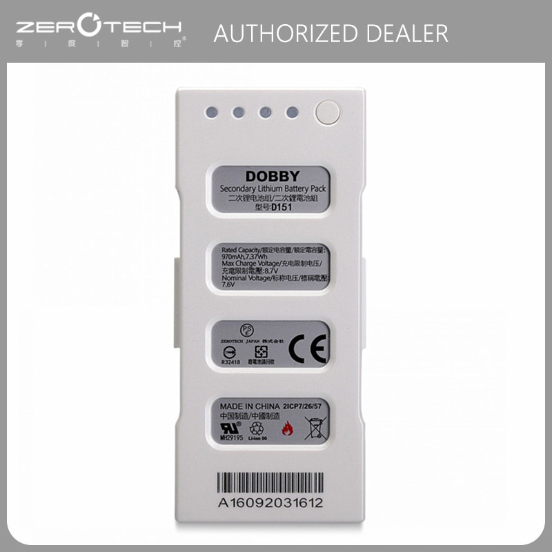цена на 100% Original Zerotech Dobby Intelligent Flight Battery Dobby Pocket Selfie Drone Battery Replacement,970mAh 8.7V