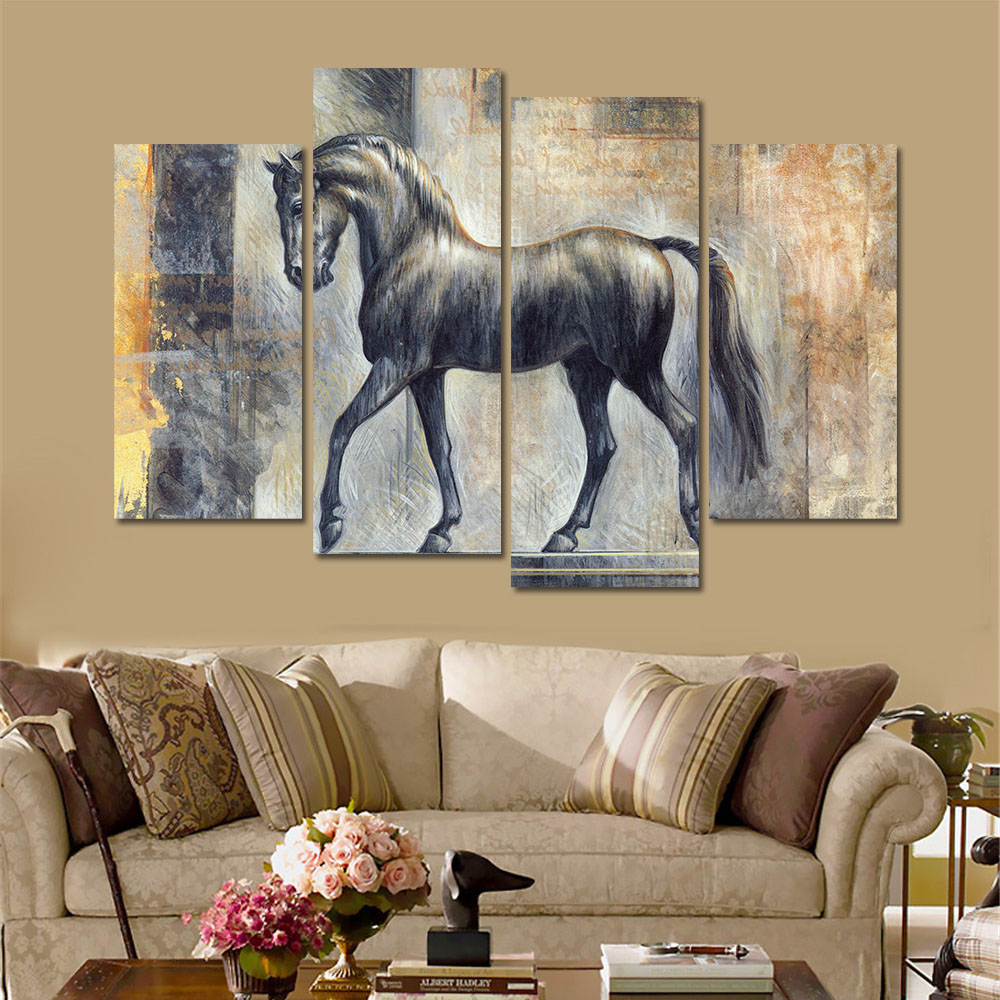 Horse sticker wall art - 4 Pieces Horse Painting Different Kind Of Horse Head Canvas Painting Unframed Wall Art Painting Abstract Oil Painting Horse