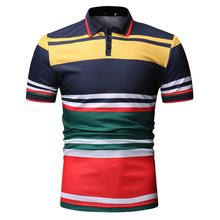 Stripe Men Polo Shirt Navy blue Black Mens Clothing Tops Business Casual Tees Lapels Short sleeve New