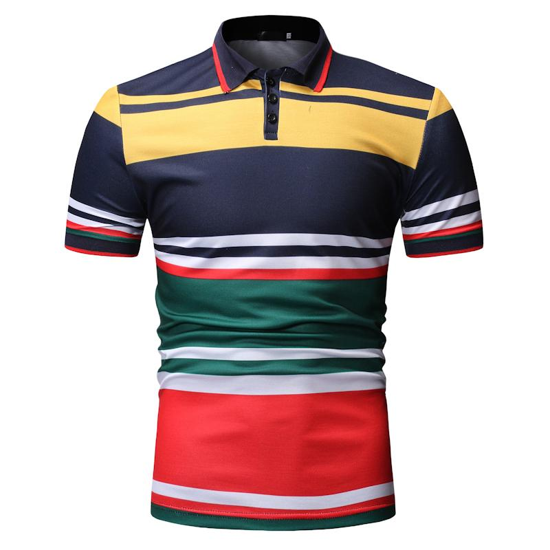 Stripe Men   Polo   Shirt Navy blue Black Men's Clothing Tops Business Casual Tees   Polo   Shirt Men Lapels Short sleeve New