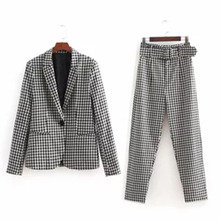 2 piece set women check long sleeves one button blazer and high waist straight casual pants