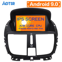 Android 9.0 4+64GB Car GPS Navigation Car DVD Player For Peugeot 207 2008 2014 autostereo headunit radio multimedia built in DSP