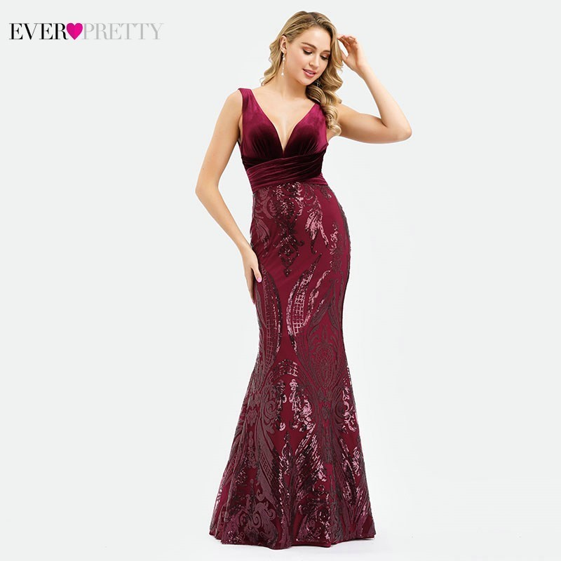 Ever Pretty Saudi Arabia Sequined Burgundy Evening Dresses Long Mermaid V-Neck Velour Sexy Formal Dresses EP00969 Robe De Soiree