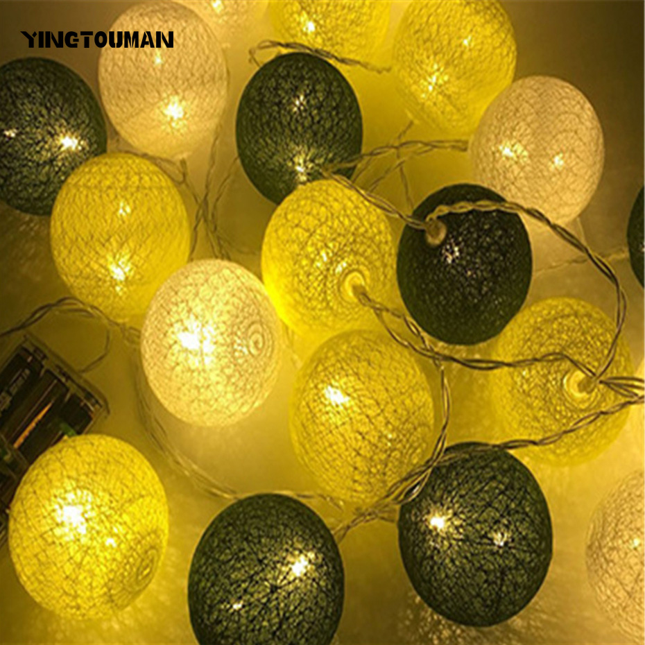 YINGTOUMANT 2pcs/lot Cotton Ball Lamp Battery String Light Christmas Holiday Wedding Party Festival Decoration Lights 4.8m 30LED