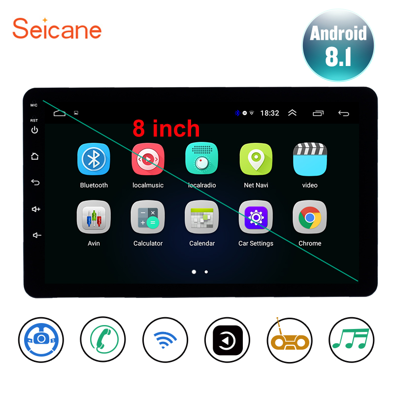 Seicane Universal 8 inch Android 8 1 2Din Car Headunit Radio GPS Navi Unit Player For