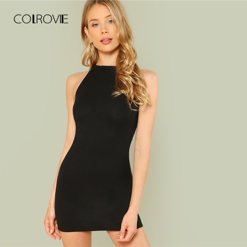 d7279baf22d COLROVIE Black Sexy Sleeveless Mock Neck Solid Halter Summer Dress Mini Dress  2018 Slim Casual Women ...