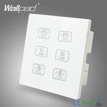 ホットカーテンスイッチ 110 V 250 V Wallpad ラグジュアリーホワイトクリスタルガラスパネル 6 ボタン制御 2 カーテン窓ブラインド壁スイッチ