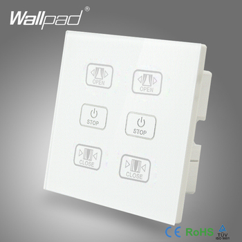 цена на Hot Curtain Switch 110V-250V Wallpad Luxury White Crystal Glass Panel 6 Buttons Control 2 Curtain Window Blind Wall Switch