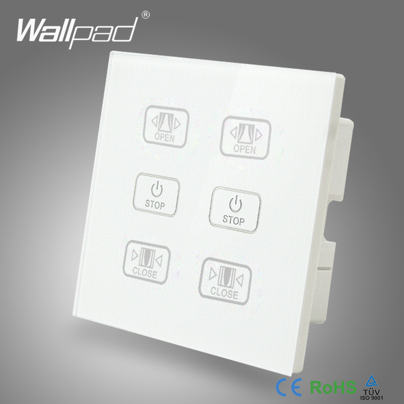Hot Curtain Switch 110V 250V Wallpad Luxury White Crystal Glass Panel 6 Buttons Control 2 Curtain Window Blind Wall Switch