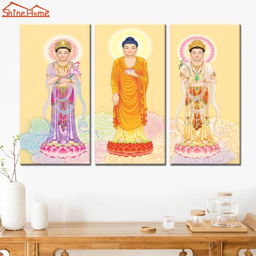 ShineHome 3pcs Western Trinity Canvas Printed Buddha Painting Three ...