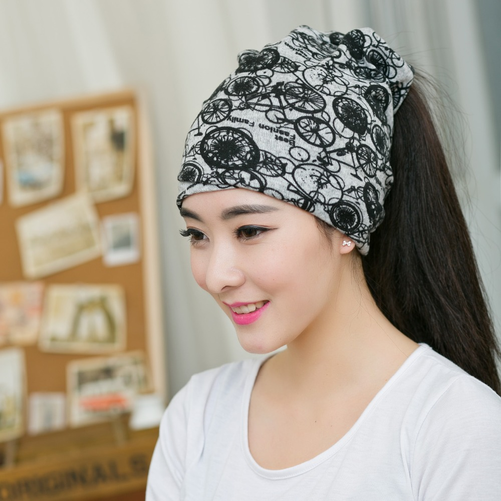New Arrival Women Fashion Hip-Hop Circle Grey Beanies Multi Purpose Bicycle Pattern Baggy Hat Unisex Scarf  Spring &Autumn Hat