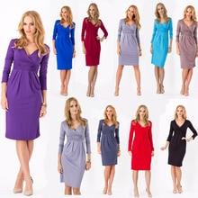 Горячий Продавать женская Одежда Горячие Весной и Осенью Зима Dress V-образным Вырезом С Длинным рукавом Длиной До Колен Wrap Dress