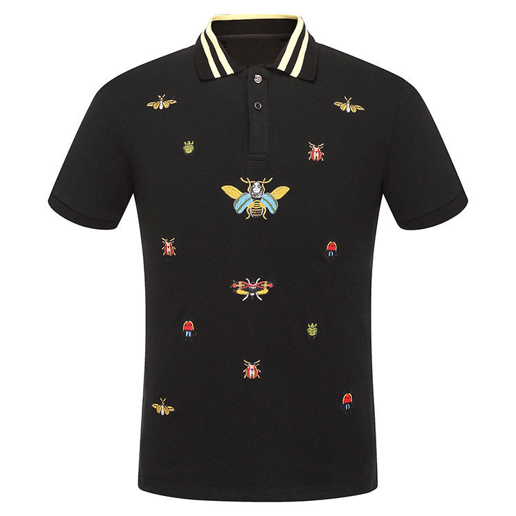 High New Novelty 2018 Men Embroidered beetle bees Fashion   Polo   Shirts Shirt Hip Hop Skateboard Cotton   Polos   Top Tee #F71