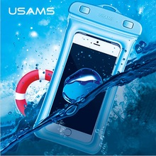 USAMS Brand IPX8 Waterproof Phone Bag Touchable Beach Airbag Underwater Bubble Floating Phone Case For iPhone/Samsung Universal